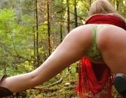 Curvy woods goddess wearing snowflake panties & red velvet