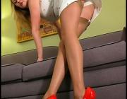 Natural Trixie in tan nylon stockings AND red pumps
